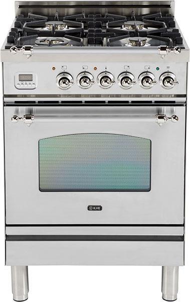 """Ilve® Nostalgie Series 24"""" Free Standing Gas Range-Stainless Steel-UPN60DVGGIX"""
