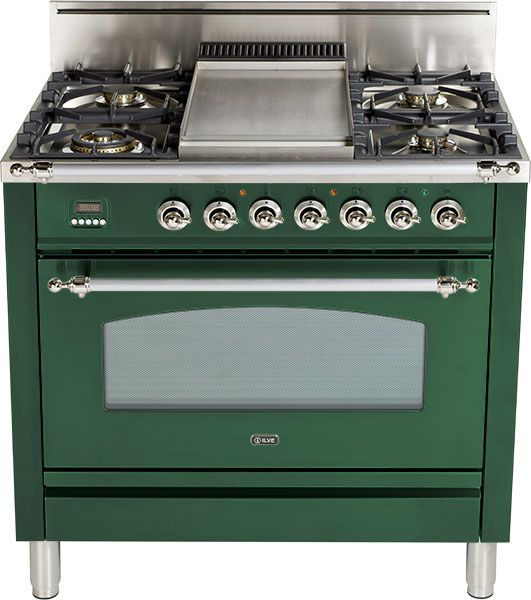 "Ilve® 36"" Nostalgie Series Free Standing Gas Range-Emerald Green-UPN90FDVGGVS"