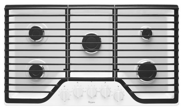 """Whirlpool® 36"""" Gas Cooktop-White-WCG51US6DW"""