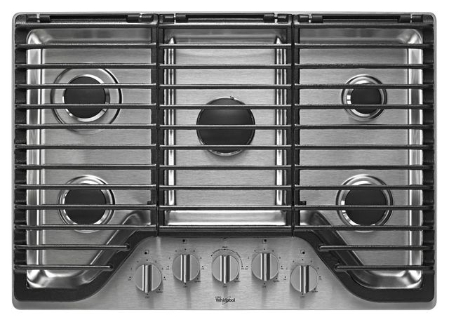 """Whirlpool® 30"""" Stainless Steel Gas Cooktop-WCG97US0DS"""