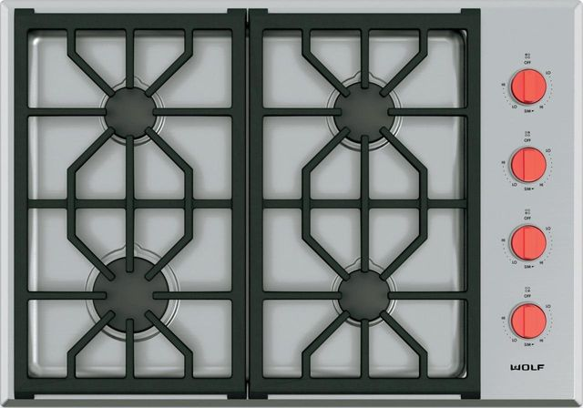 """Wolf® Professional 30"""" Stainless Steel Gas Cooktop-CG304P/S"""