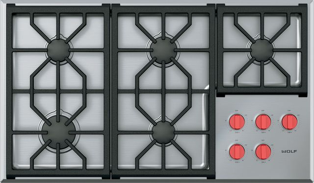 """Wolf® 36"""" Stainless Steel Professional Gas Cooktop-CG365P/S"""