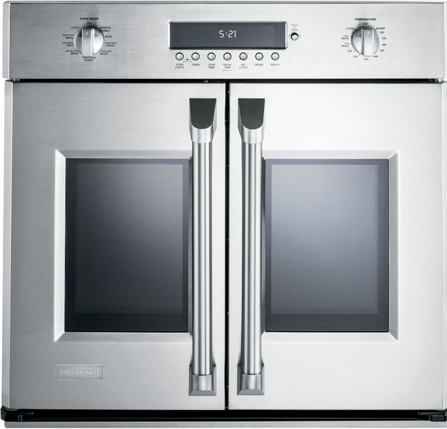 """Monogram® 30"""" Professional French Door Electronic Convection Single Wall Oven-Stainless Steel-ZET1FHSS"""