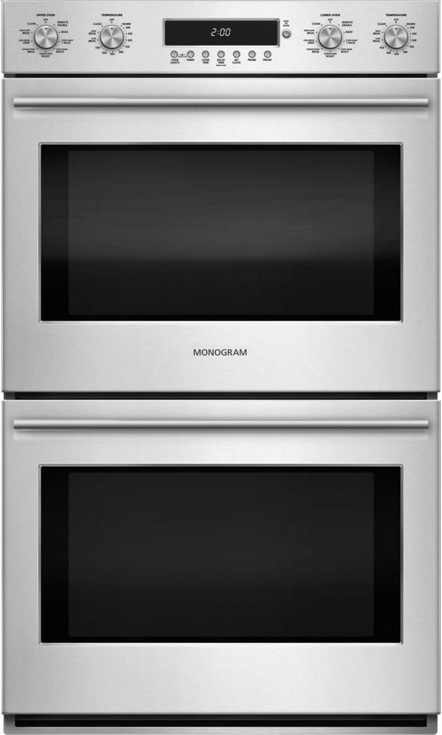 """Monogram® 30"""" Electronic Convection Double Wall Oven-Stainless Steel-ZET2SHSS"""