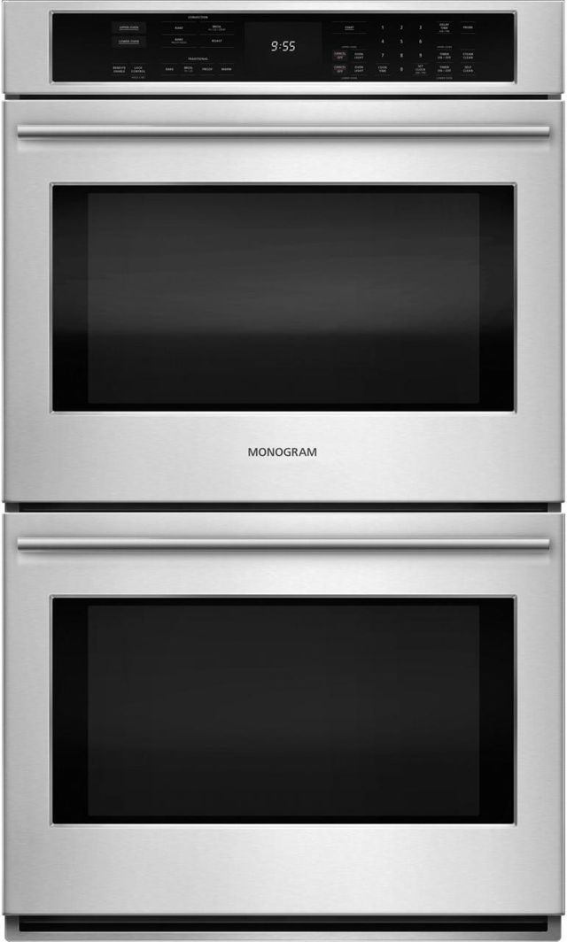 """Monogram® 30"""" Electronic Convection Double Wall Oven-Stainless Steel-ZET9550SHSS"""
