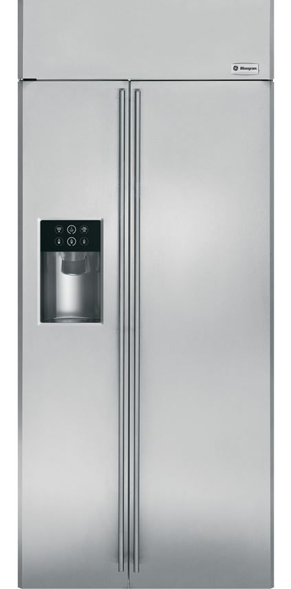 GE® Monogram® 21 Cu. Ft. Built-In Side-by-Side Refrigerator-Stainless Steel-ZISS360DHSS