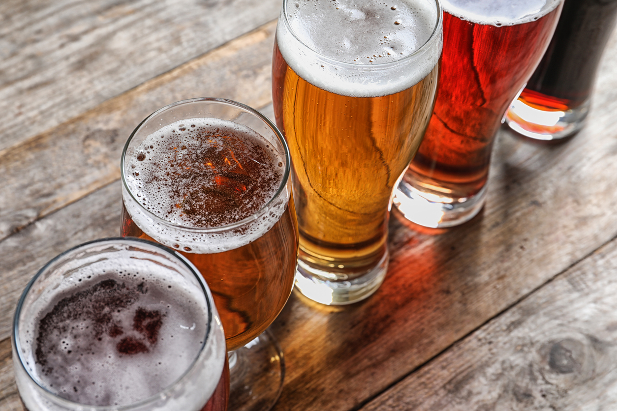 glasses of beer in a row