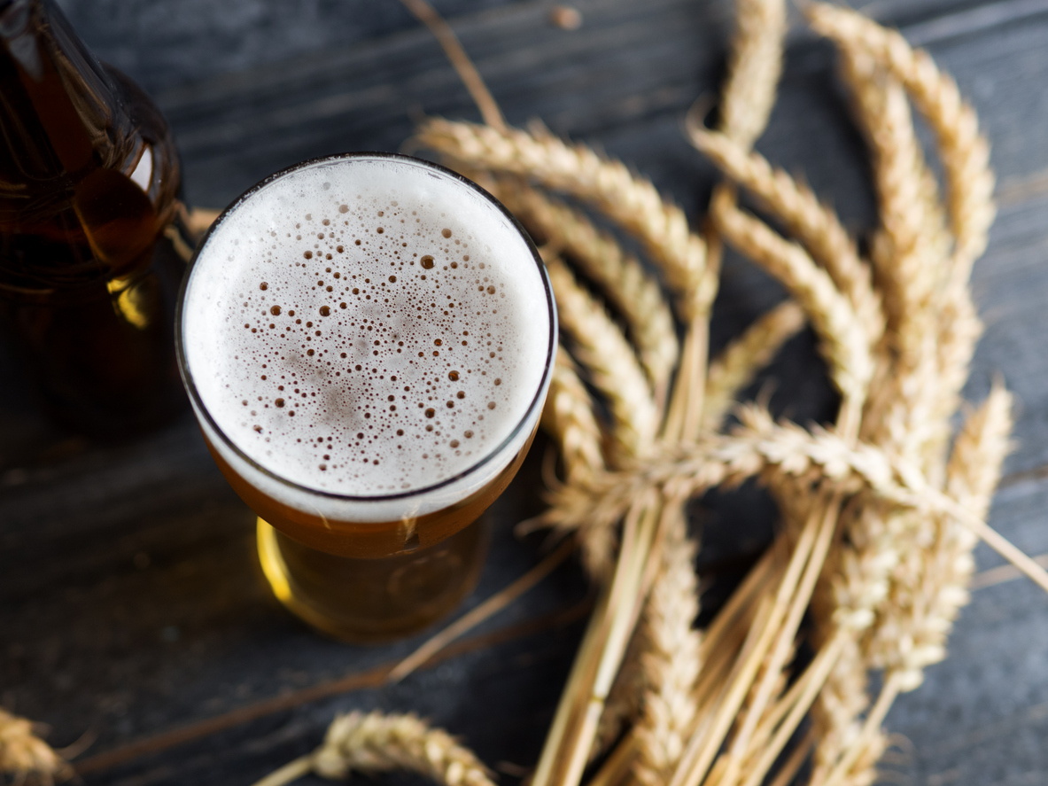 glass of beer with wheat in the background