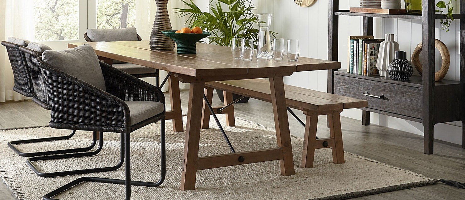 Dining room with bench seating