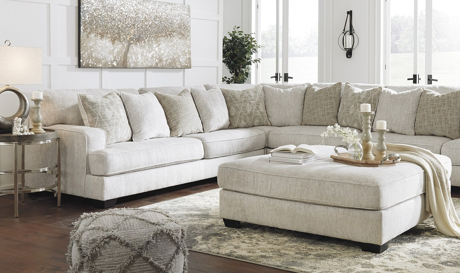 Sunny beige living room sectional