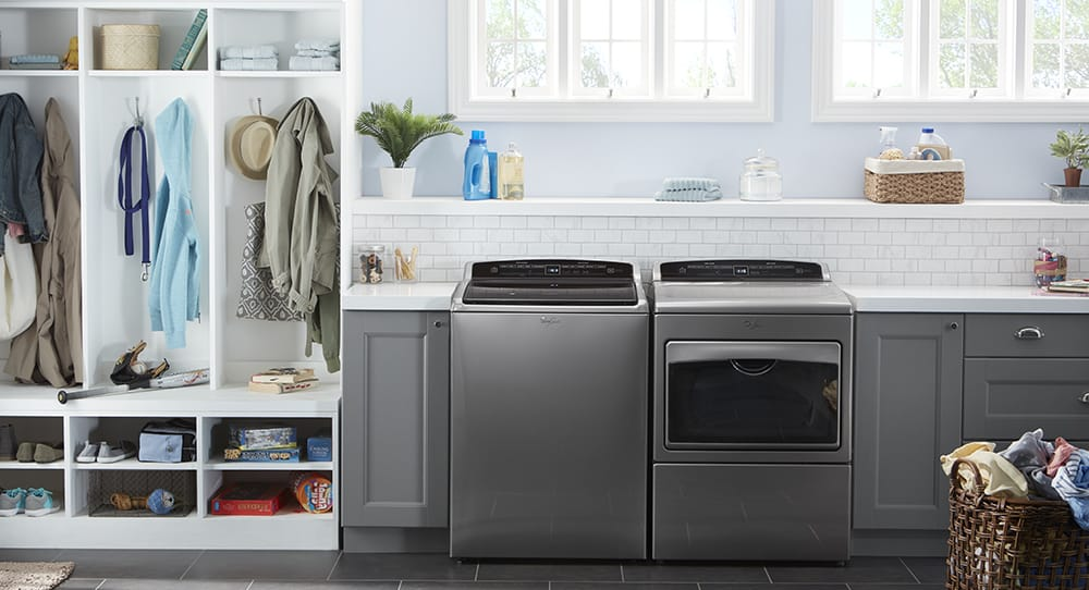 Whirlpool laundry washer and dryer in chrome finish
