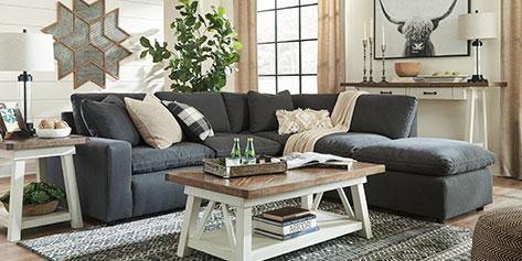 Salon avec canapés, chaise et table centrale
